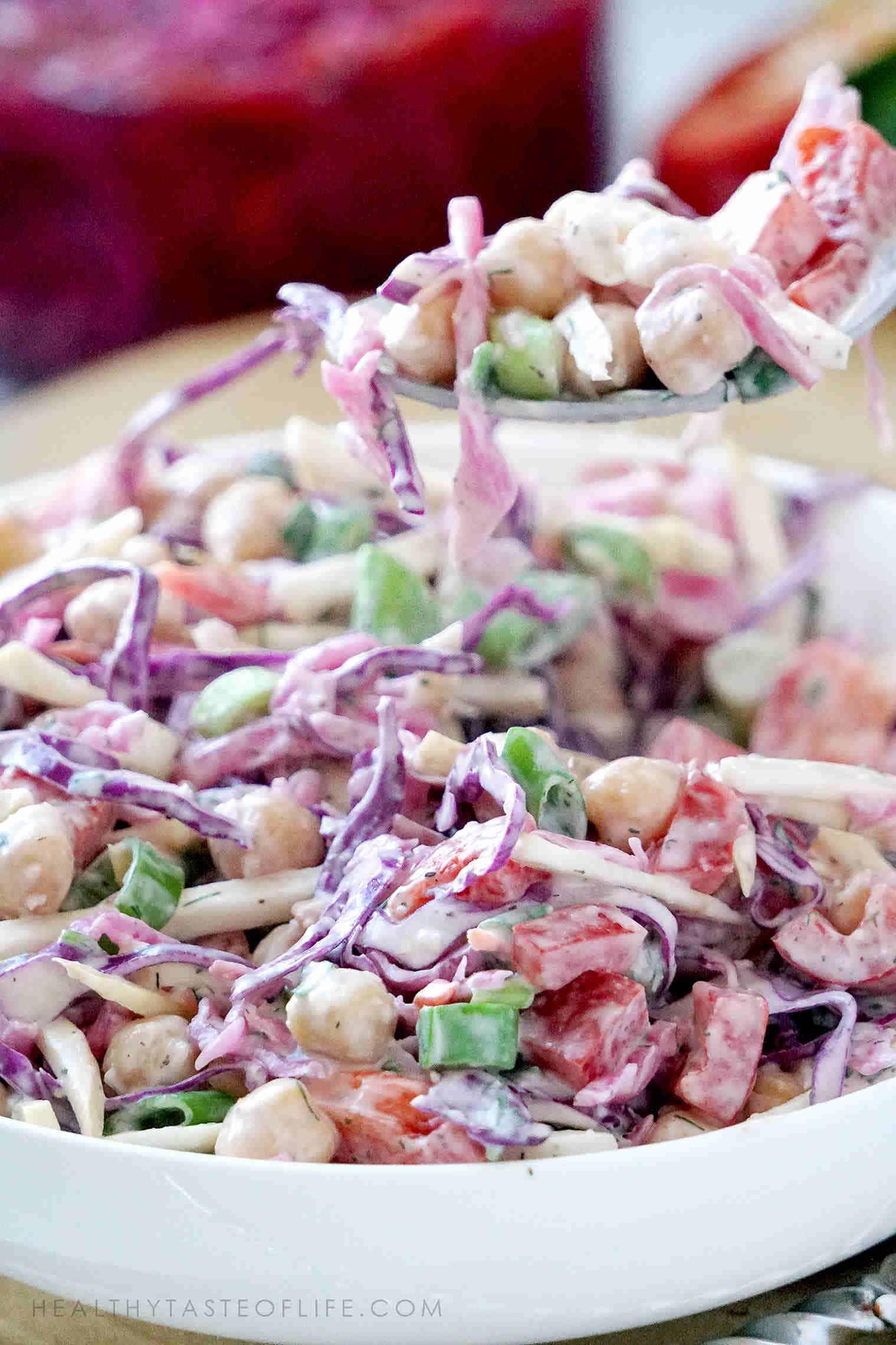 Vegan chickpea salad recipe + dressing