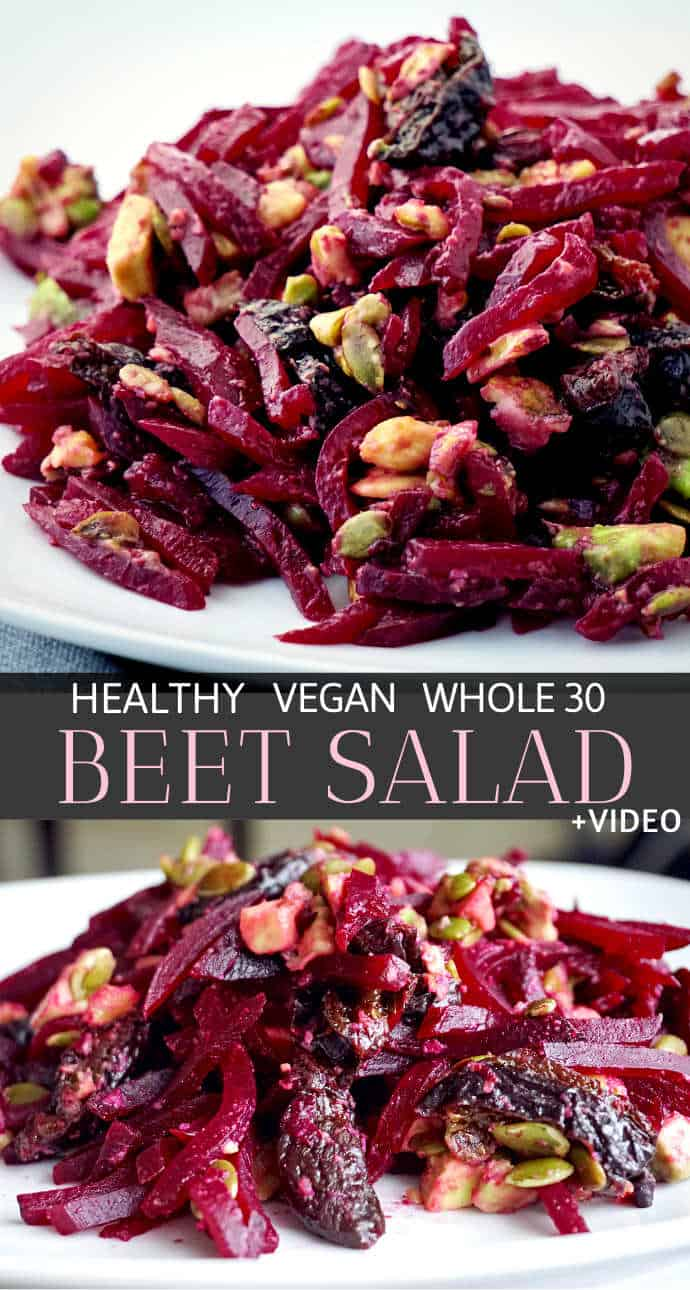Looking for healthy beetroot salad ideas? This healthy beet salad is quick, easy and simple: made with roasted shredded beets, dried prunes, walnuts & avocado - clean eating, vegan and whole30 friendly. A healthy beet salad recipe served cold and perfect as side dish, lunch or a light dinner.  #beetrootsalad #beetsalad