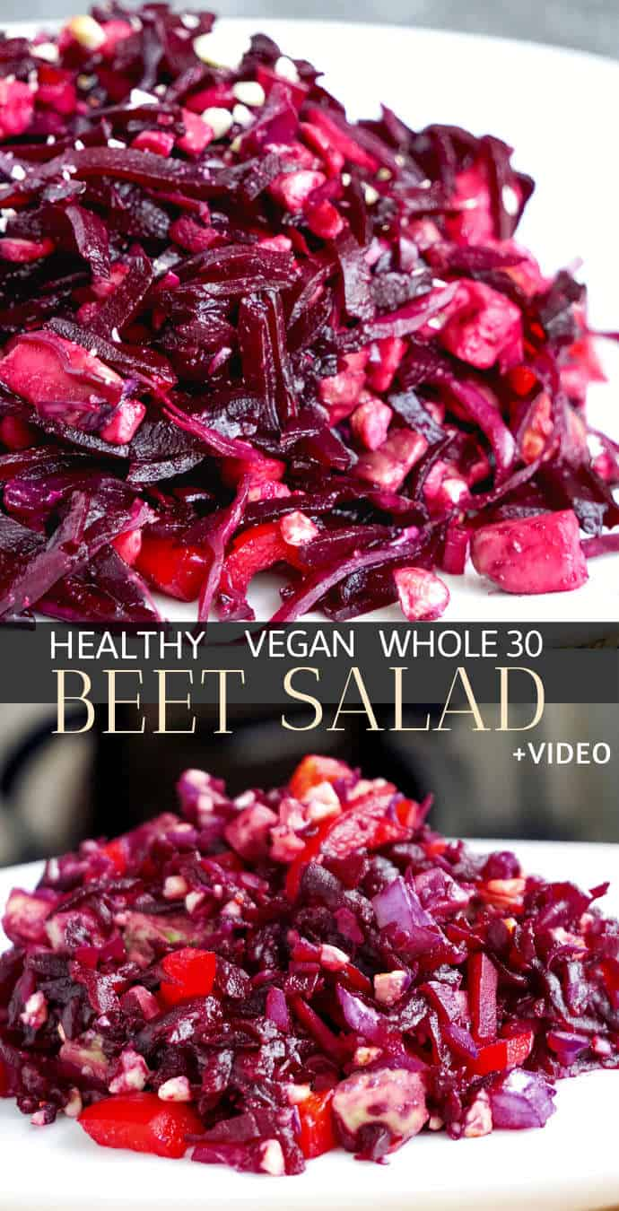 Healthy easy beetroot salad recipe with sauerkraut (pickled cabbage) – vegan and whole30 approved. This healthy easy beet salad recipe is full of probiotics and antioxidants: shredded beets, chopped bell pepper, red cabbage sauerkraut and avocado. #beetrootsalad #beetsalad