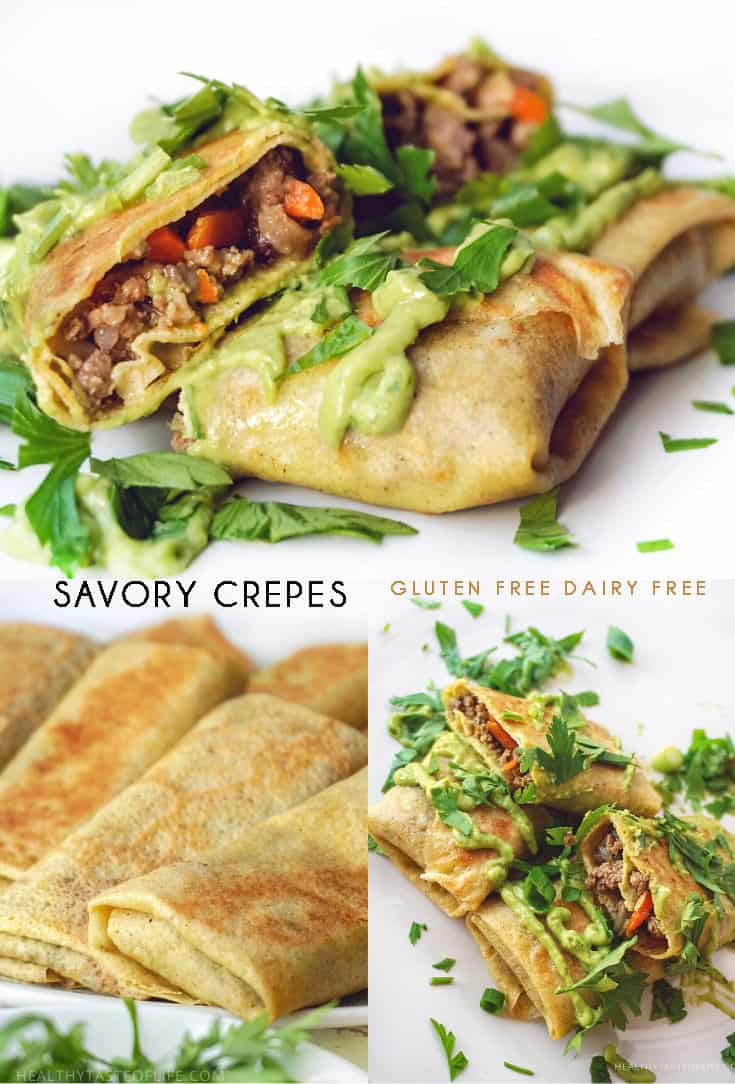 Gluten free dairy free crepes recipe - gluten free savory crepes filled with a savory beef and mushroom filling and finished with a creamy dairy free avocado sauce.