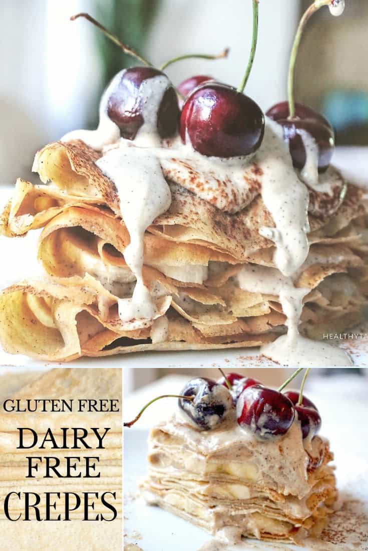 Gluten free dairy free crepes with banana and dairy free crepe filling with cashews coconut cream, coffee and cherries.