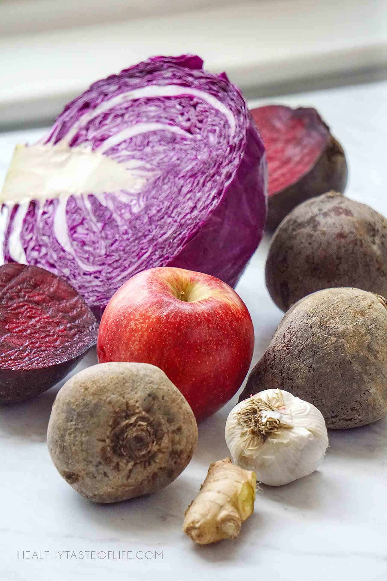 Lacto fermented beets cabbage ginger, apple garlic, recipe.