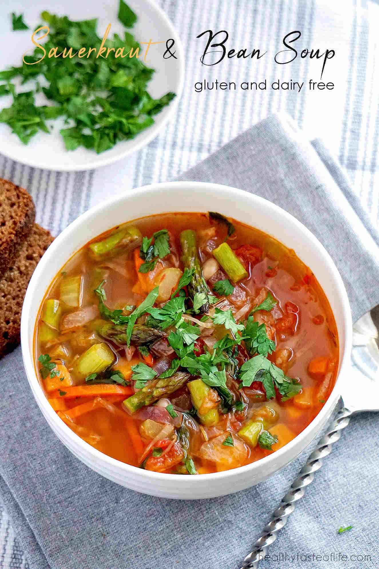 Sauerkraut / Cabbage And Bean Soup Bowl Dairy Free