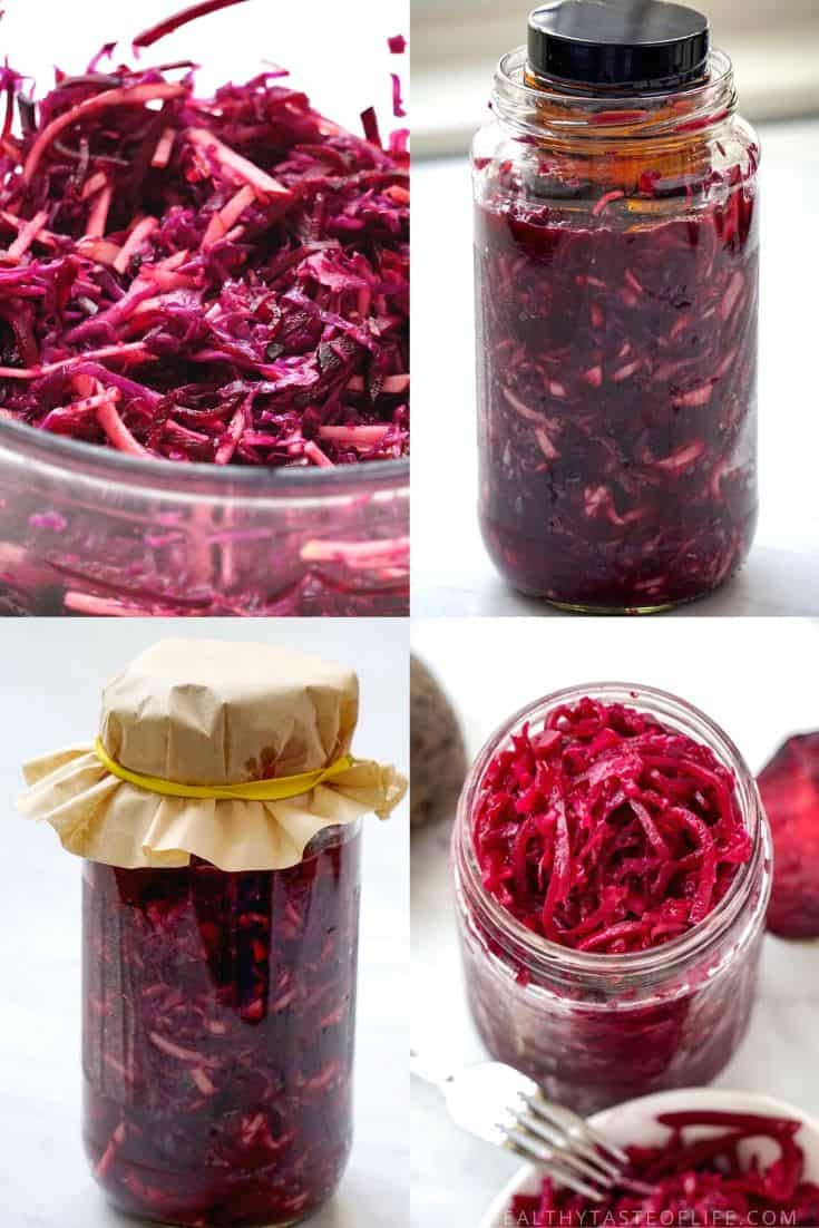 Fermented Beets Recipe. Fermenting beets, cabbage, apple, ginger and garlic mixture in a glass jar.