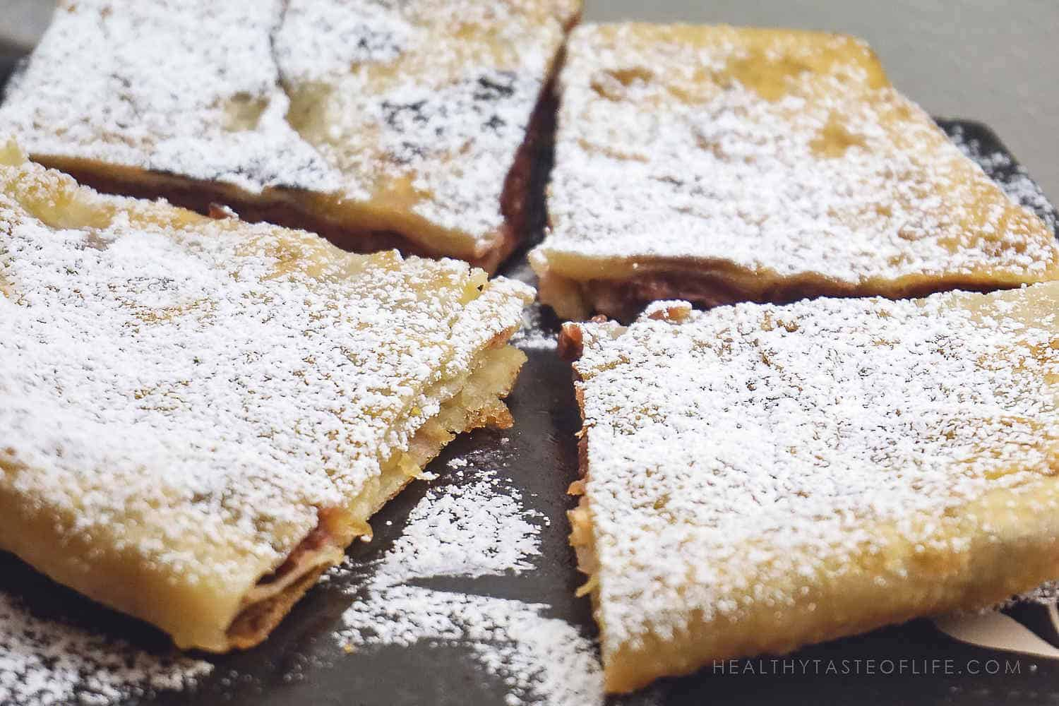 stuffed flatbread recipe with apples and sour cherries