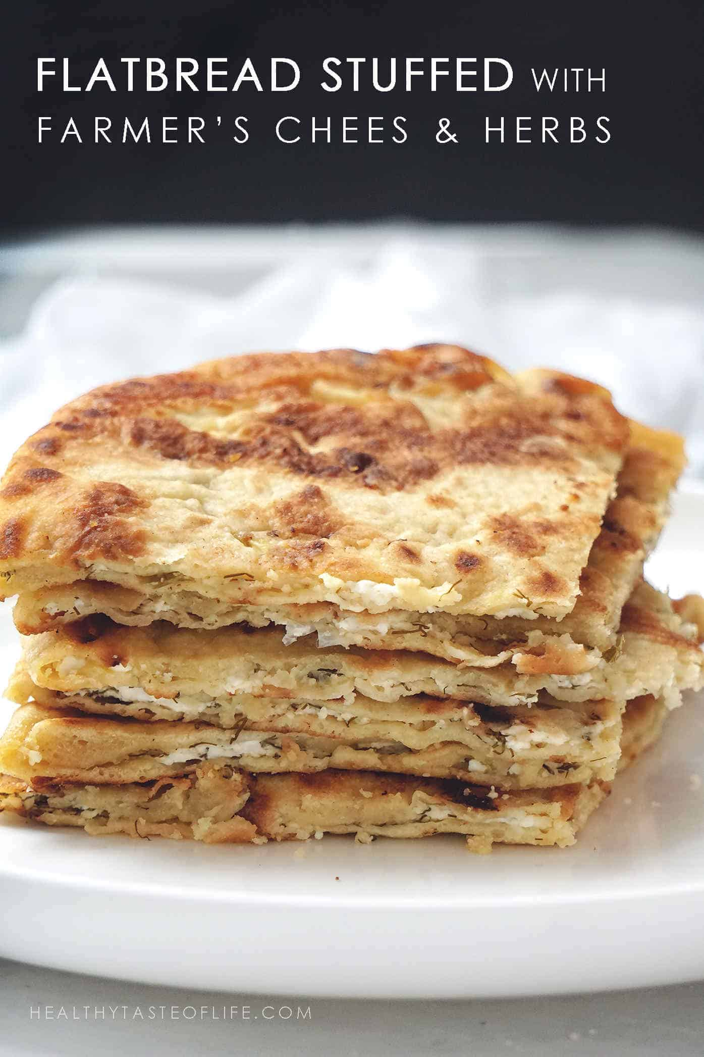 homemade stuffed flatbread or paratha with farmer's cheese