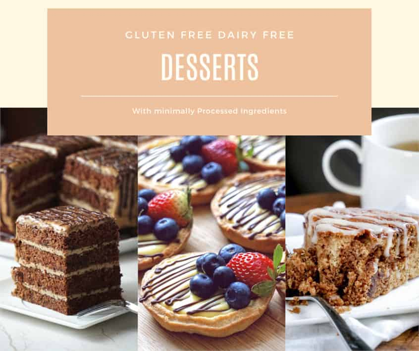 Gluten free dairy free desserts, cookies, cakes, pies from my gluten and dairy free cook book. Clean eating cookbook.