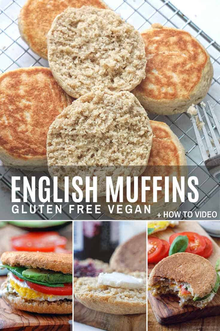 Gluten free English muffins recipe with gluten free sourdough starter - easy, healthy, homemade comfort food in just 30 minutes. No yeast, no baking rings required. Learn how to make gluten free English muffins (dairy free, vegan) with a how-to video and instructions.   #glutenfree #englishmuffins #dairyfree #vegan