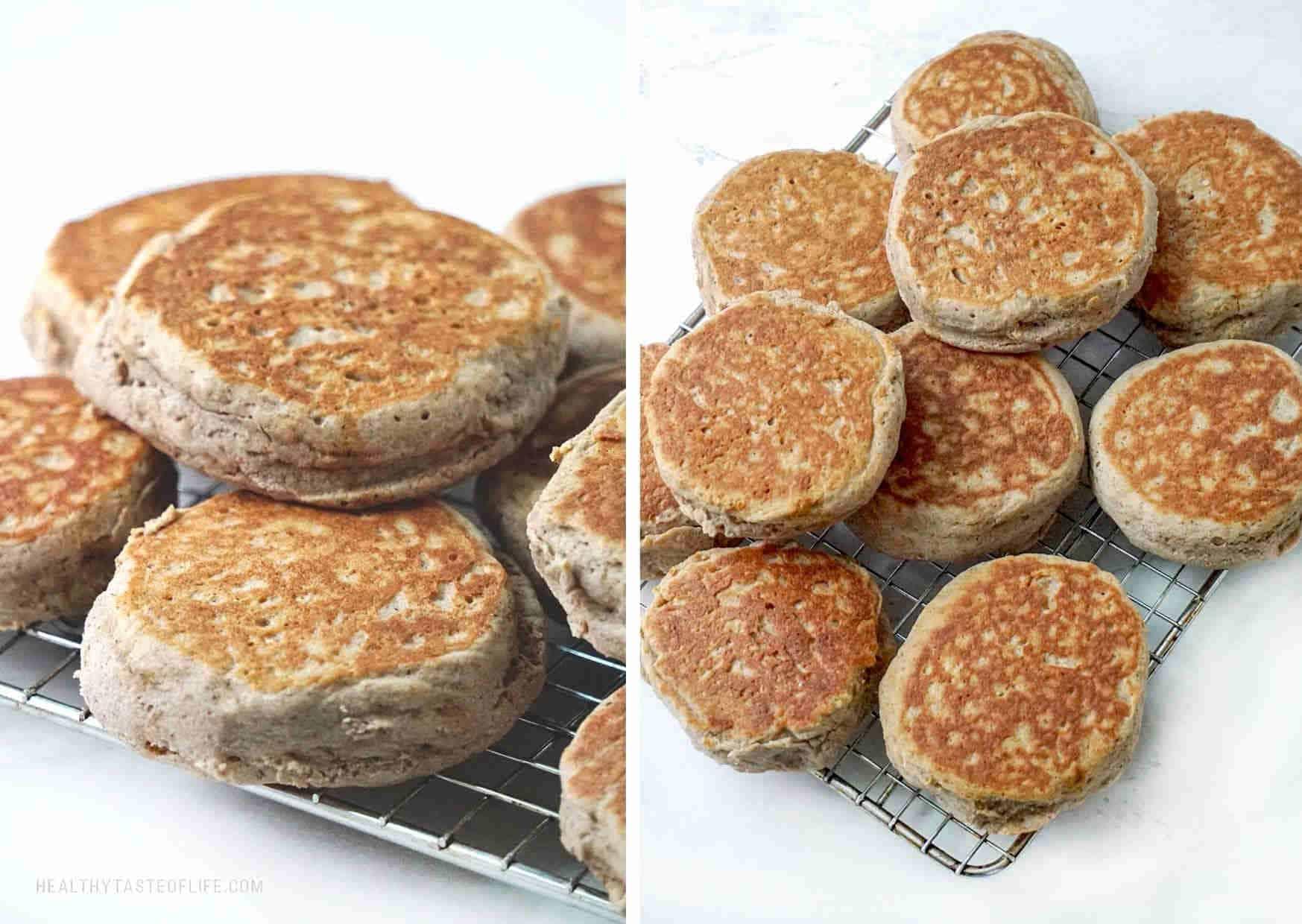 Whole grain gluten free English muffins (buckwheat, sorghum flour)
