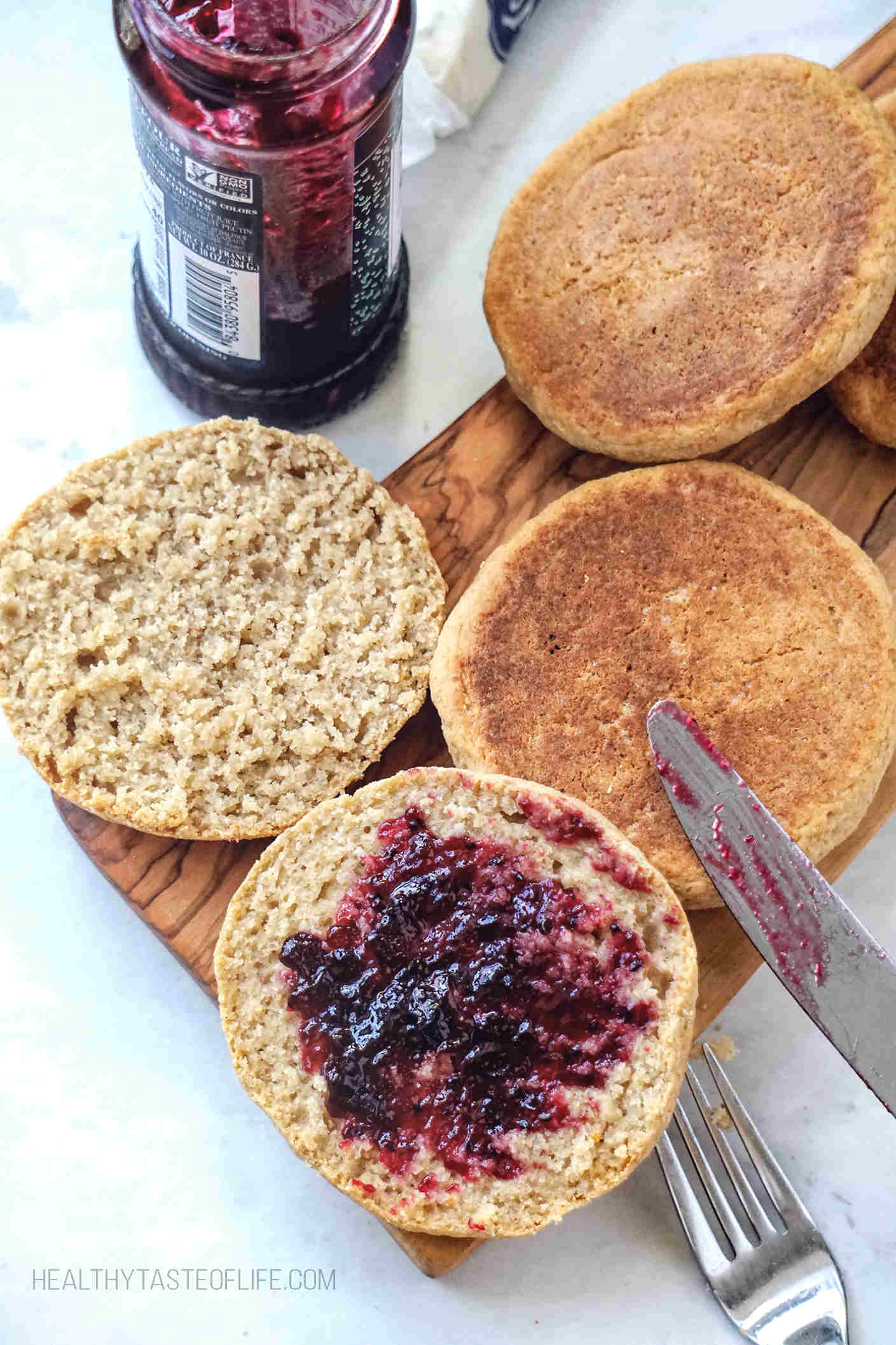 Skinny gluten free English muffins with black currant jam