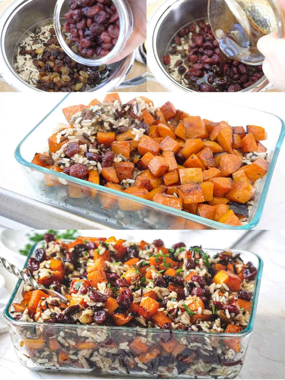 How to make a healthy vegan  butternut squash casserole with roasted sweet potatoes and rice #butternutsquashcasserole