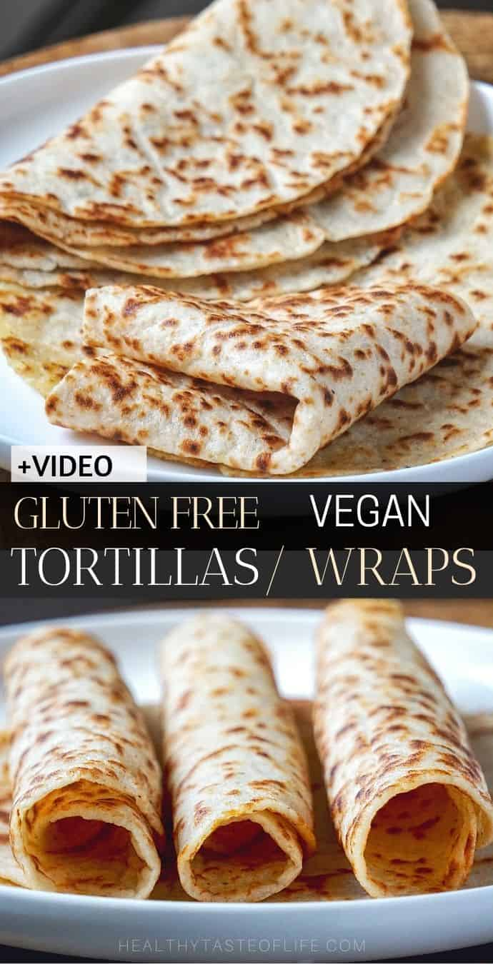 Looking for a gluten free tortilla recipe? These gluten free tortillas wraps are very thin, chewy and flexible: the softest vegan gluten free tortillas you can make at home! These homemade gluten free tortillas wraps are so tasty, tender and pliable, you'll never use store-bought again. #glutenfreetortillas #tortillas #vegan #glutenfreewraps #dairyfree #homemade