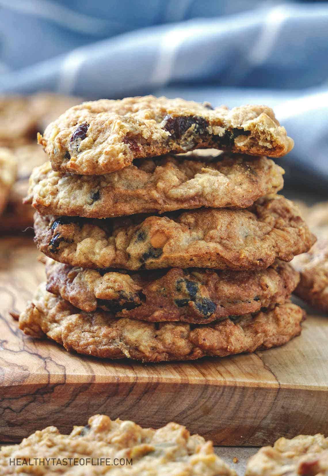 Healthy Vegan Oatmeal Cookies (Gluten Free) stacked.