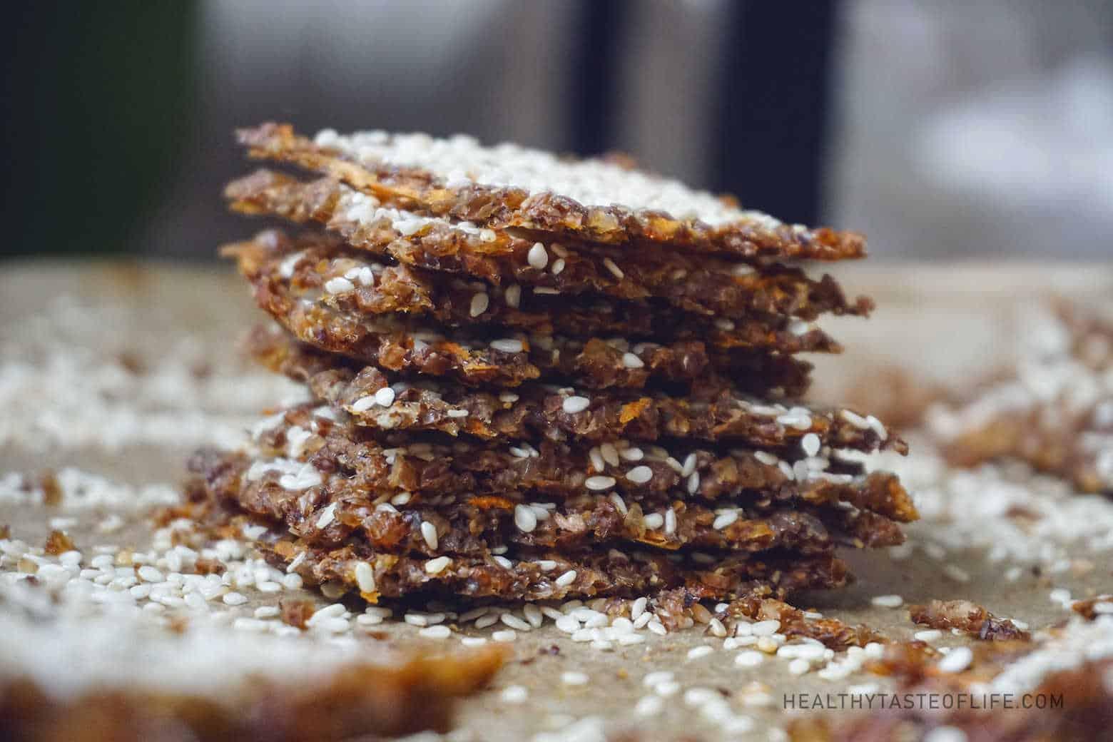 Buckwheat crackers / crisps with  seeds and sweet potatoes  gluten free vegan snack