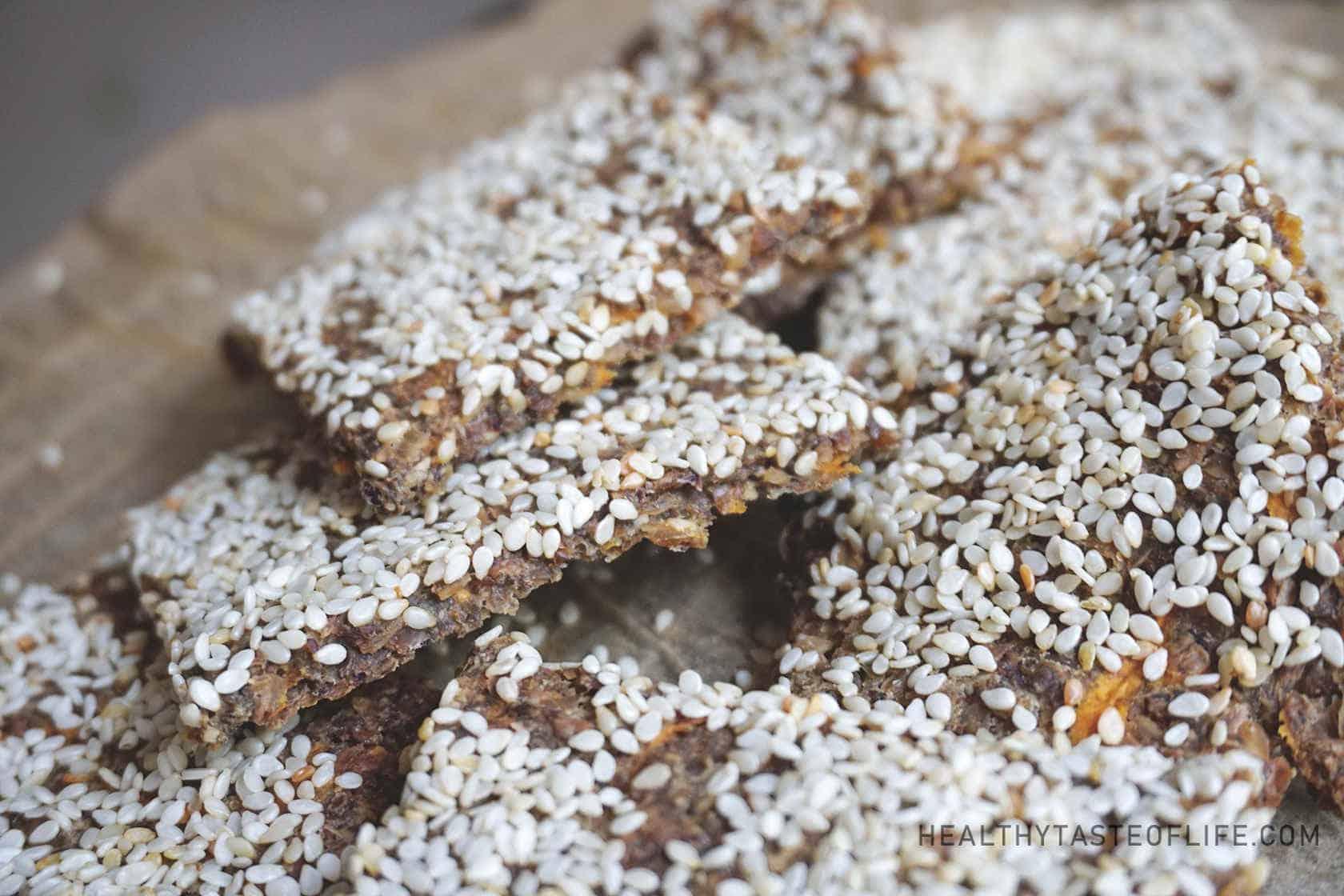 Buckwheat crackers recipe with sesame seeds and sweet potatoes