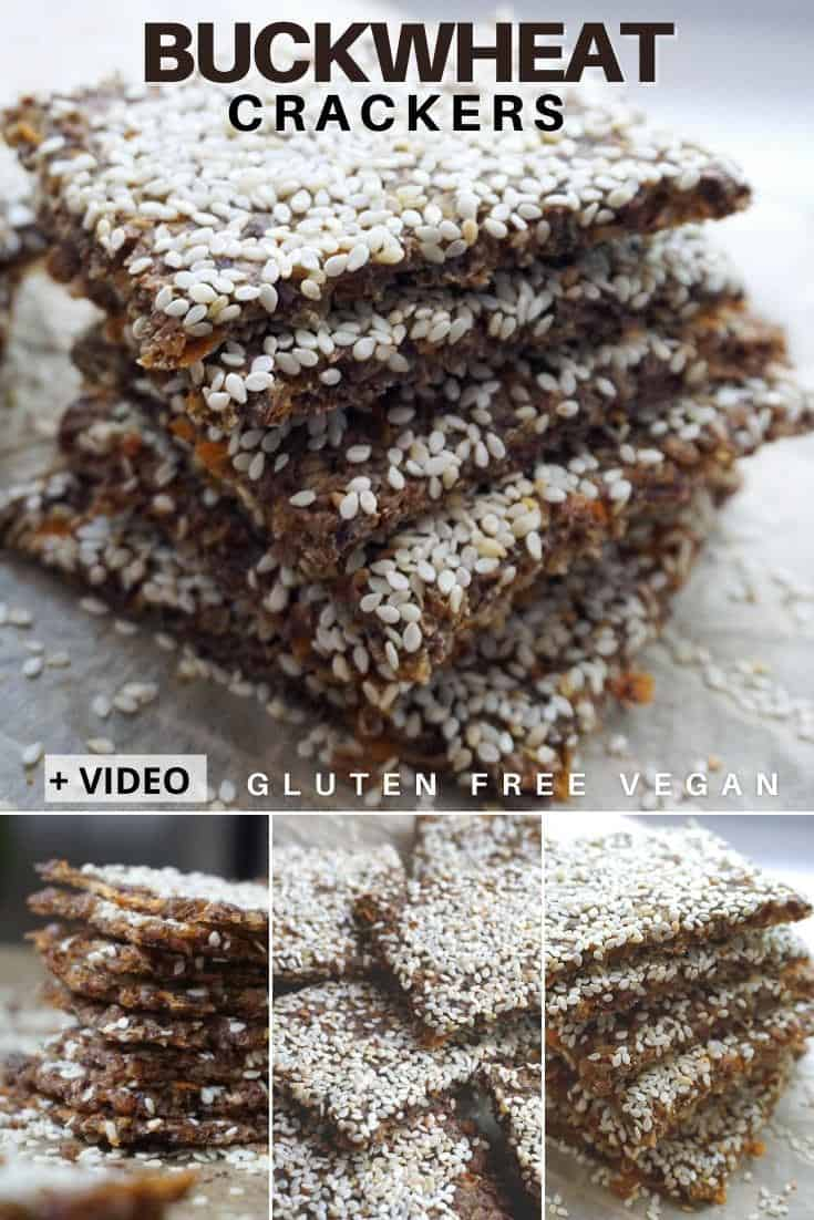 Healthy Buckwheat Crackers / Chips – gluten free vegan snack + video. Learn how to make crunchy, flavorful, homemade buckwheat crackers with buckwheat groats, sweet potatoes, flax seeds and sesame seeds. These baked vegan gluten free crackers are great to be enjoyed as snack on their own or with a warm bowl of soup. #buckwheat #veganglutenfree #crackers #healthycrackers #homemadecrackers