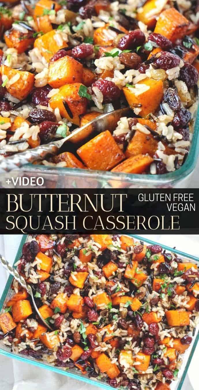 Healthy Savory Butternut Squash Casserole With Sweet Potatoes and Rice (Vegan Gluten Free Recipe, Side Dish) #butternutsquash #casserole #glutenfree #vegan #sidedish