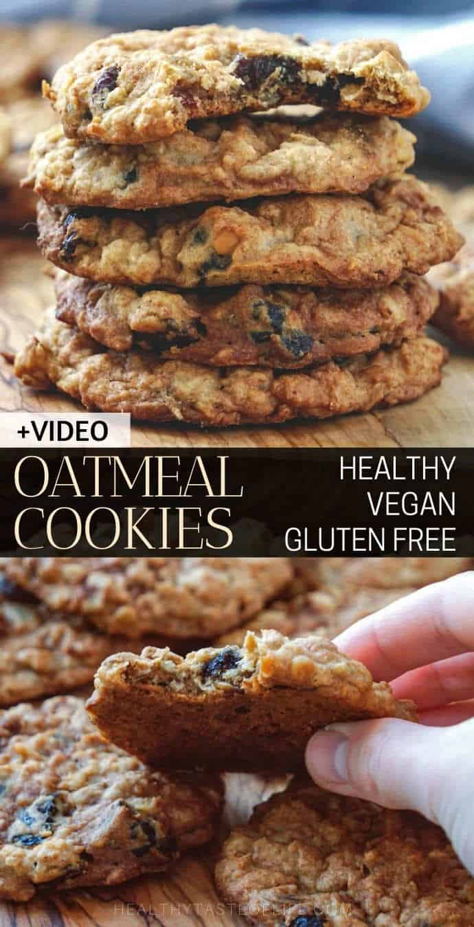 Healthy Vegan Oatmeal Cookies (Gluten Free) that can be made soft and chewy (due to applesauce) or crispy if baked longer.
