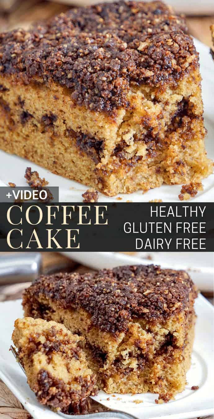 Looking for a gluten free coffee cake recipes? Check out this gluten free coffee cake with a buttery walnut cinnamon crumb. Moist soft and it melts in your mouth. This healthy gluten free coffee cake can be enjoyed as a dessert or breakfast as it doesn't have refined sugar and it's also dairy free. #moist #coffeecake #glutenfree #walnut #cinnamon #healthy #dairyfree