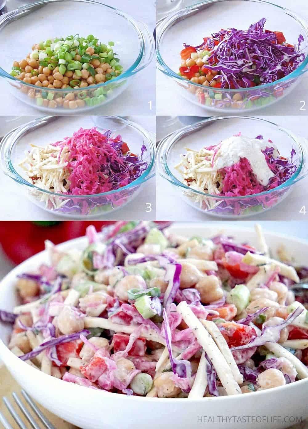 Vegan Chickpea Salad No Mayo With Red Cabbage and Sauerkraut