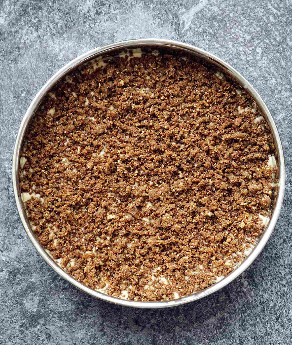 Coffee Cake Topped With Cinnamon Crumb Before Baking