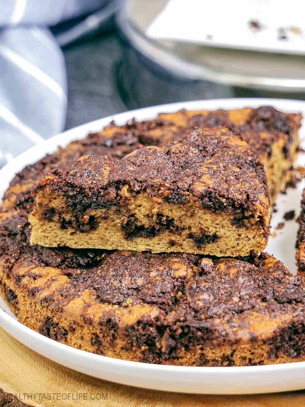 A moist fluffy slice of gluten free cinnamon coffee cake #coffeecake #glutenfree