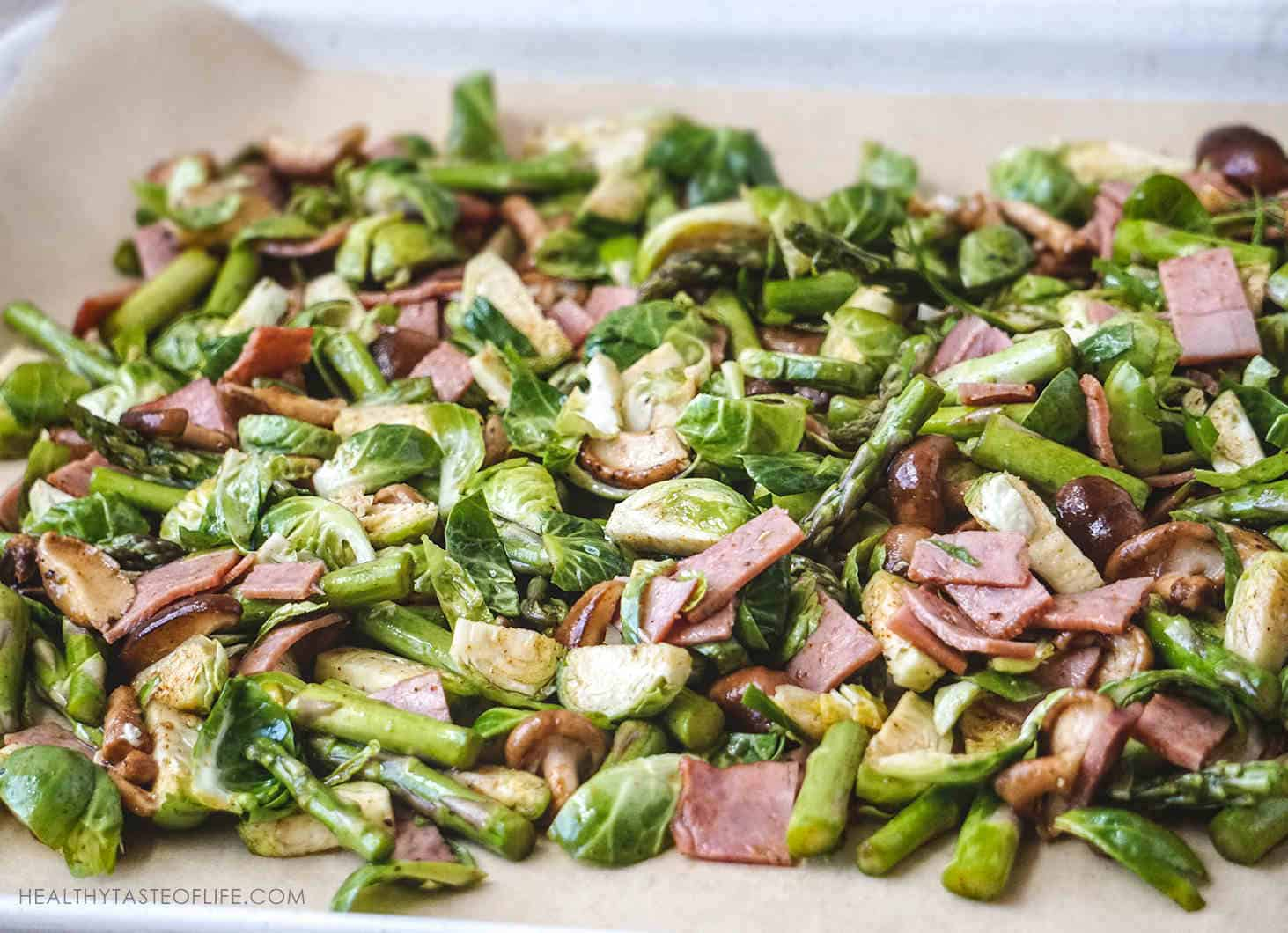 chopped brussels sprouts asparagus bacon shiitake mushrooms
