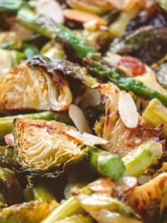 roasted brussels sprouts and asparagus feat image