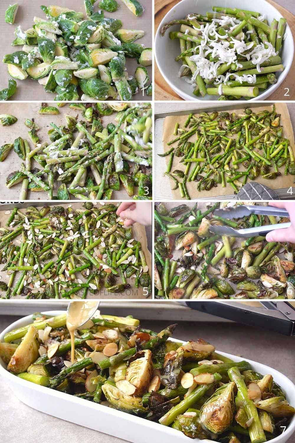 How to roast crispy Brussels sprouts and asparagus