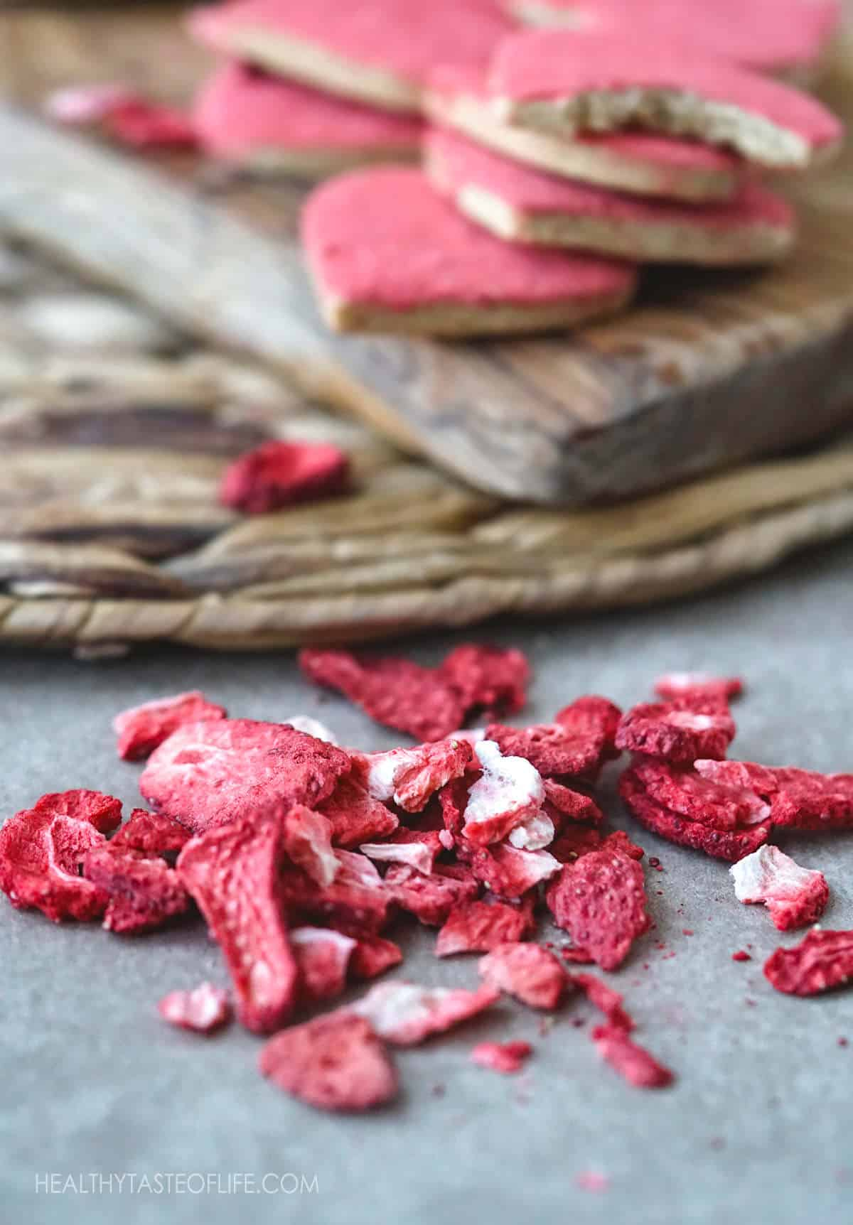 Looking for freeze dried strawberry recipes? Try these vegan gluten free cookies with freeze dried strawberries - heart shaped sugar cookies with strawberry flavor