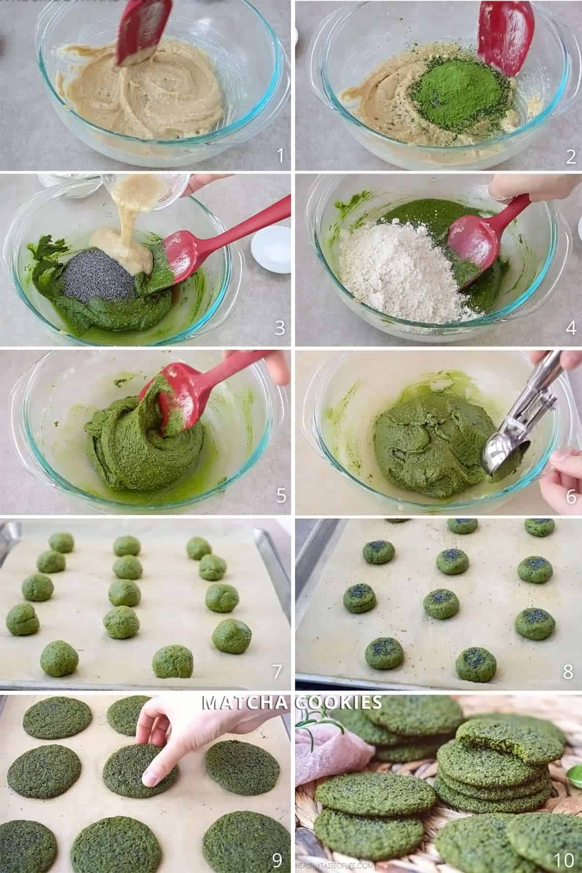 How to make healthy vegan matcha cookies with gluten free flour and without egg. How to make chewy matcha cookies and matcha oatmeal cookies without eggs and refined sugar. #matchacookies #vegan #glutenfree #healthy #recipe #video