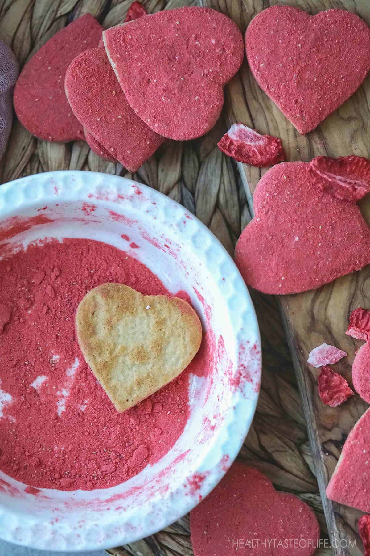 Healthy Vegan Gluten Free Heart Shaped Cookies Decorated With Freeze Dried Strawberry Powder