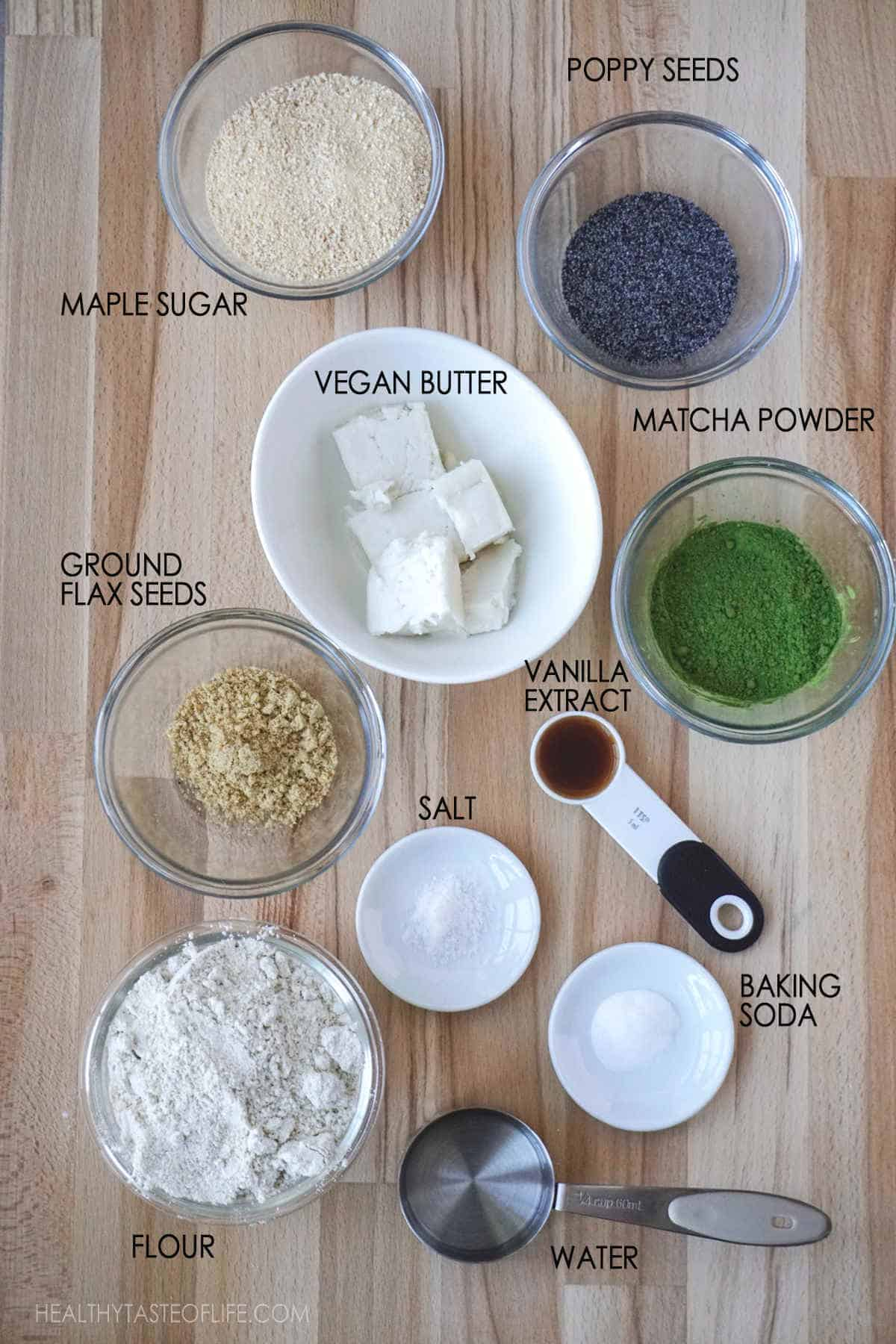 Ingredients for matcha cookies. How to make matcha cookies with matcha powder and vegan ingredients