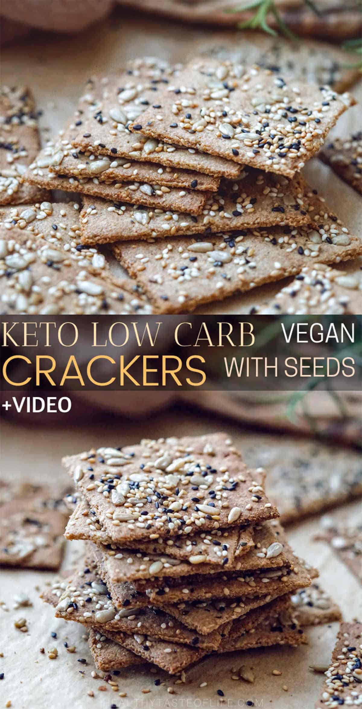 Crispy homemade low carb keto seed crackers recipe (+ video) that's also dairy free, gluten free, grain free, nut free, paleo and vegan. These keto crackers are made with flax seeds, sunflower seeds, sesame seeds healthy fat and grain free flour. A low carb keto snack great for anyone who is following a dairy free, vegan keto diet, no cheese, no eggs and no almond flour here. #ketocrackers #ketoseedcrackers  #ketocrackersrecipe #vegan #dairyfree #snack #lowcarb#ketocrackersrecipe #vegan #dairyfree #snack #lowcarb#ketocrackersrecipe #vegan #dairyfree #snack #lowcarb