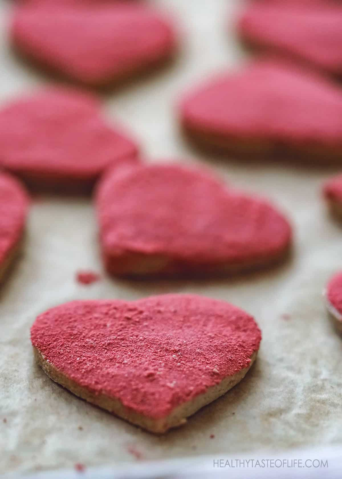 Heart shaped cookies with strawberry dusting - healthy vegan gluten free, dairy free, egg free recipe