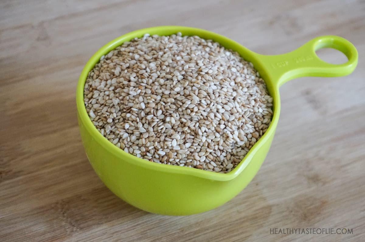 Sesame Seeds prepared to make milk