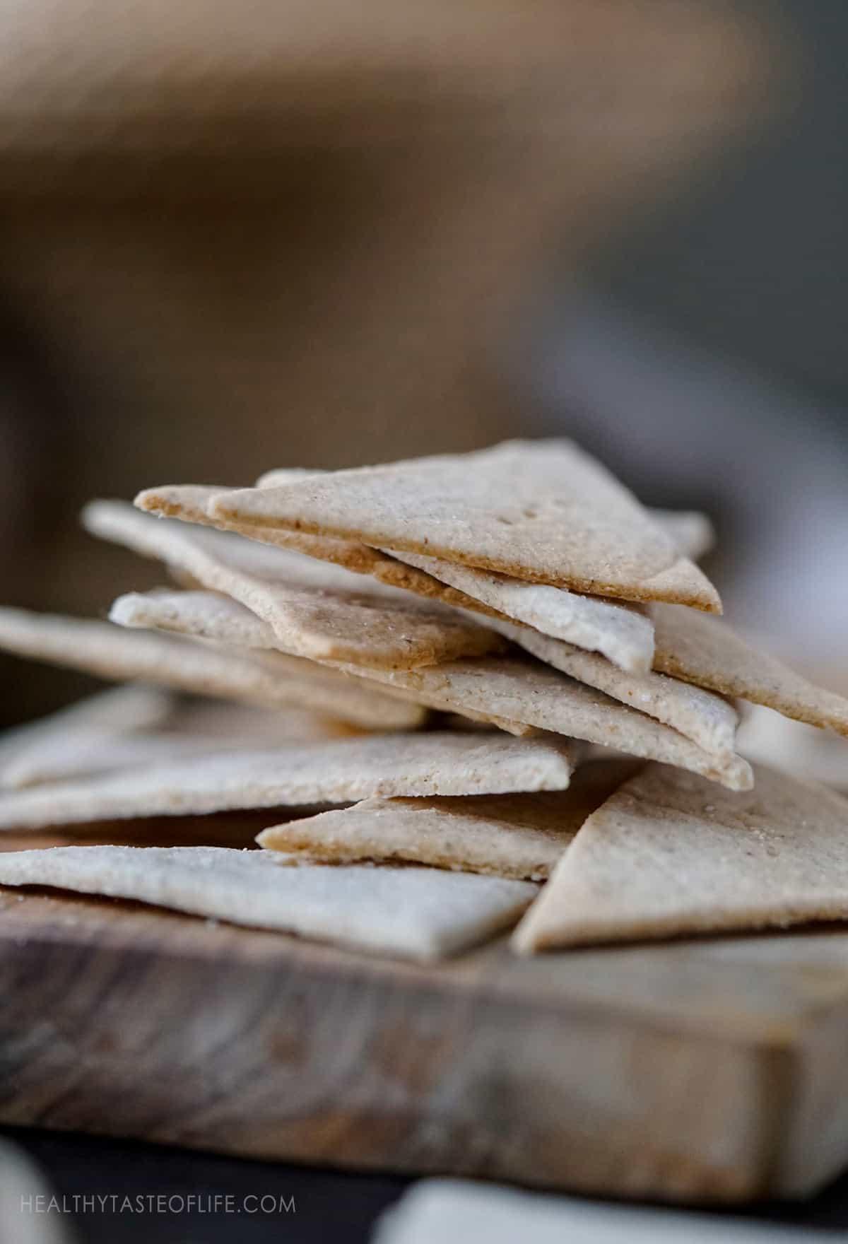 Cassava and tigernut crackers - crunchy crispy thin crackers made with grain free flours like cassava, tigenut and flax seeds.