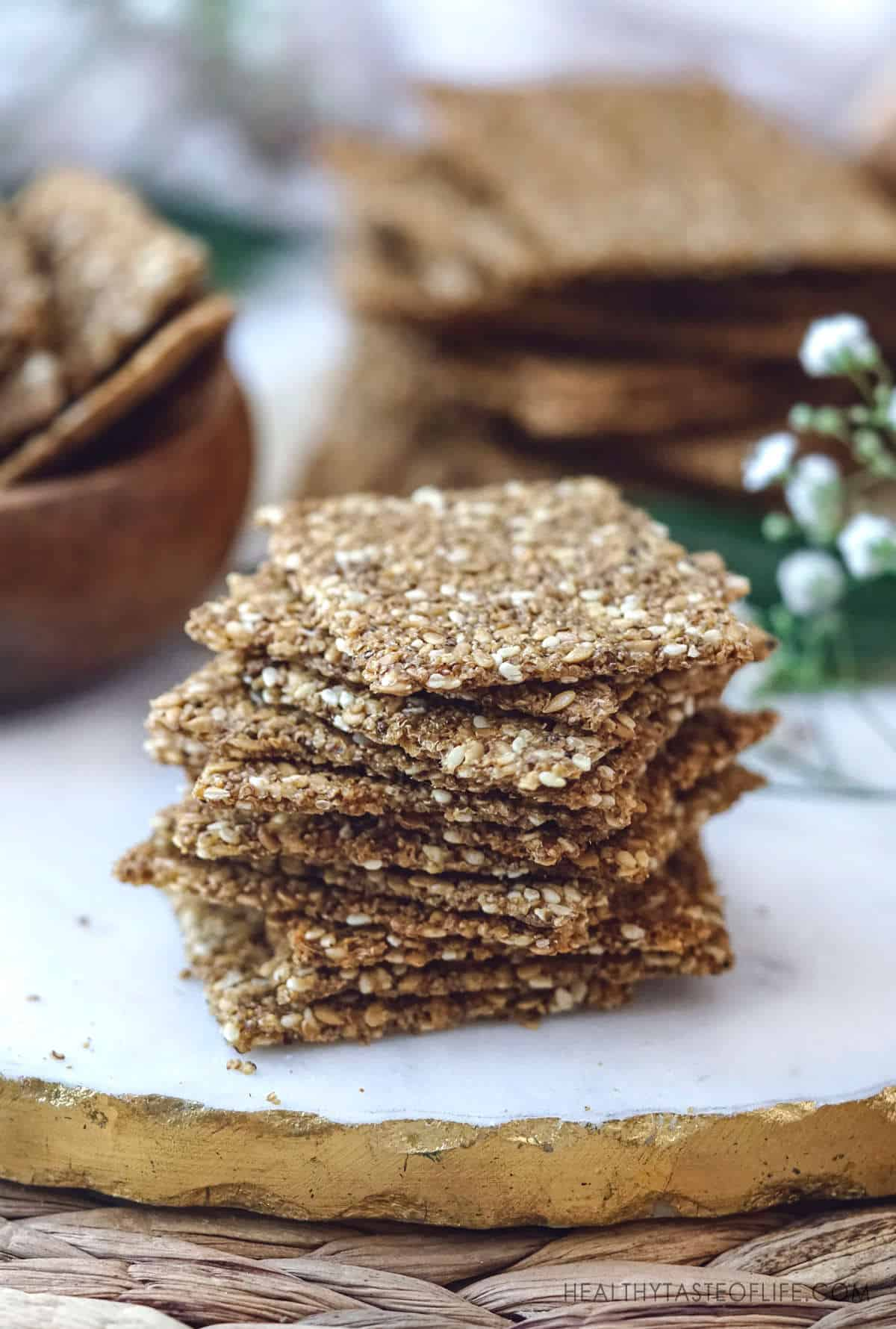 Vegan gluten free seed crackers with puffed amaranth.