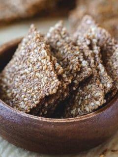 Puffed amaranth crackers with seeds vegan gluten free