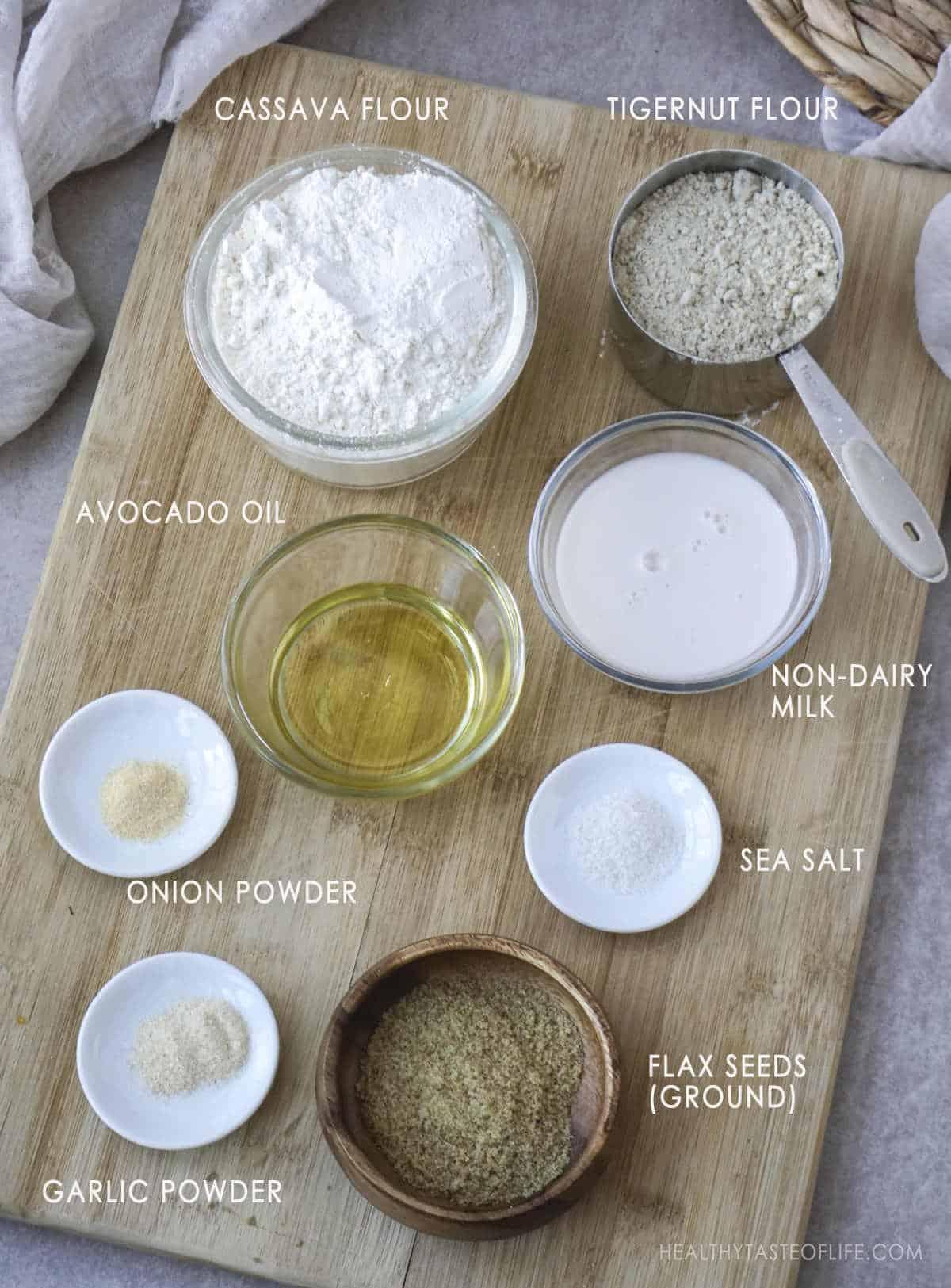 Ingredients for grain free crackers.