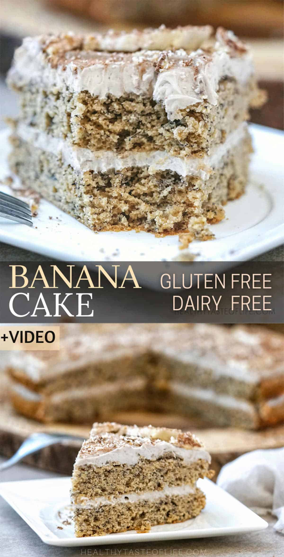 A fluffy and moist gluten free banana cake infused with natural banana flavor made with healthier ingredients and mostly without refined sugar. Enjoy this layered gluten free banana cake as it is (make a single layer) or finish it with a buttery dairy free frosting. Decorate with fresh banana slices and touch of powdered cacao if you like! Gluten free dairy free banana cake. #bananacake #glutenfreecake #dairyfreecake