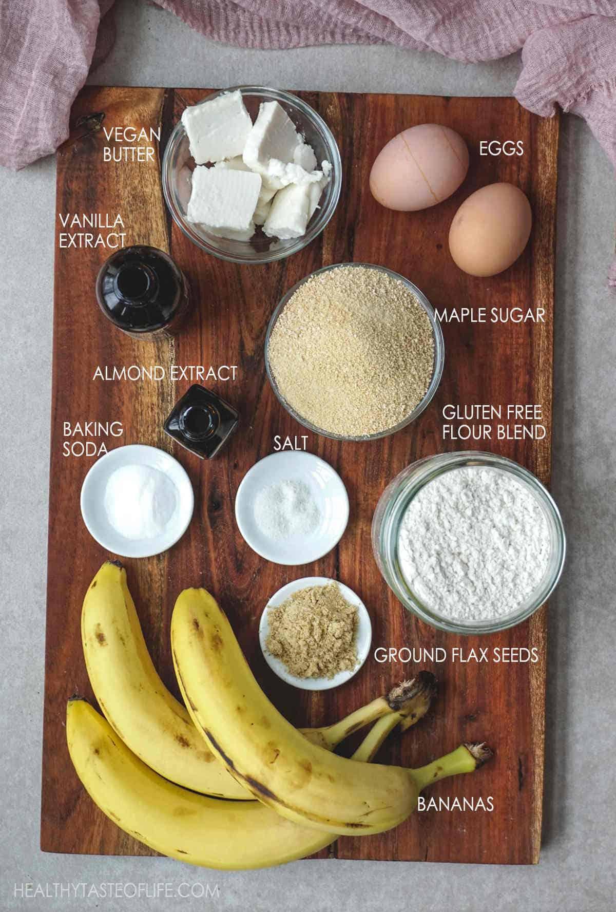 Ingredients for gluten free banana cake batter #bananacake #glutenfree