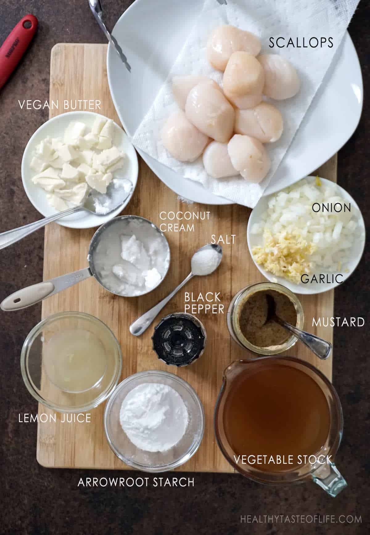 Ingredients for making scallops in a dairy free cream sauce.
