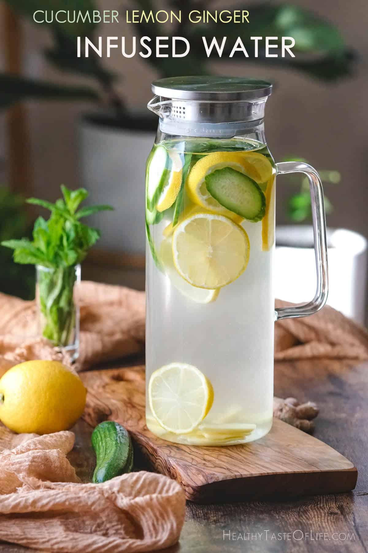 Cucumber lemon ginger water recipe.