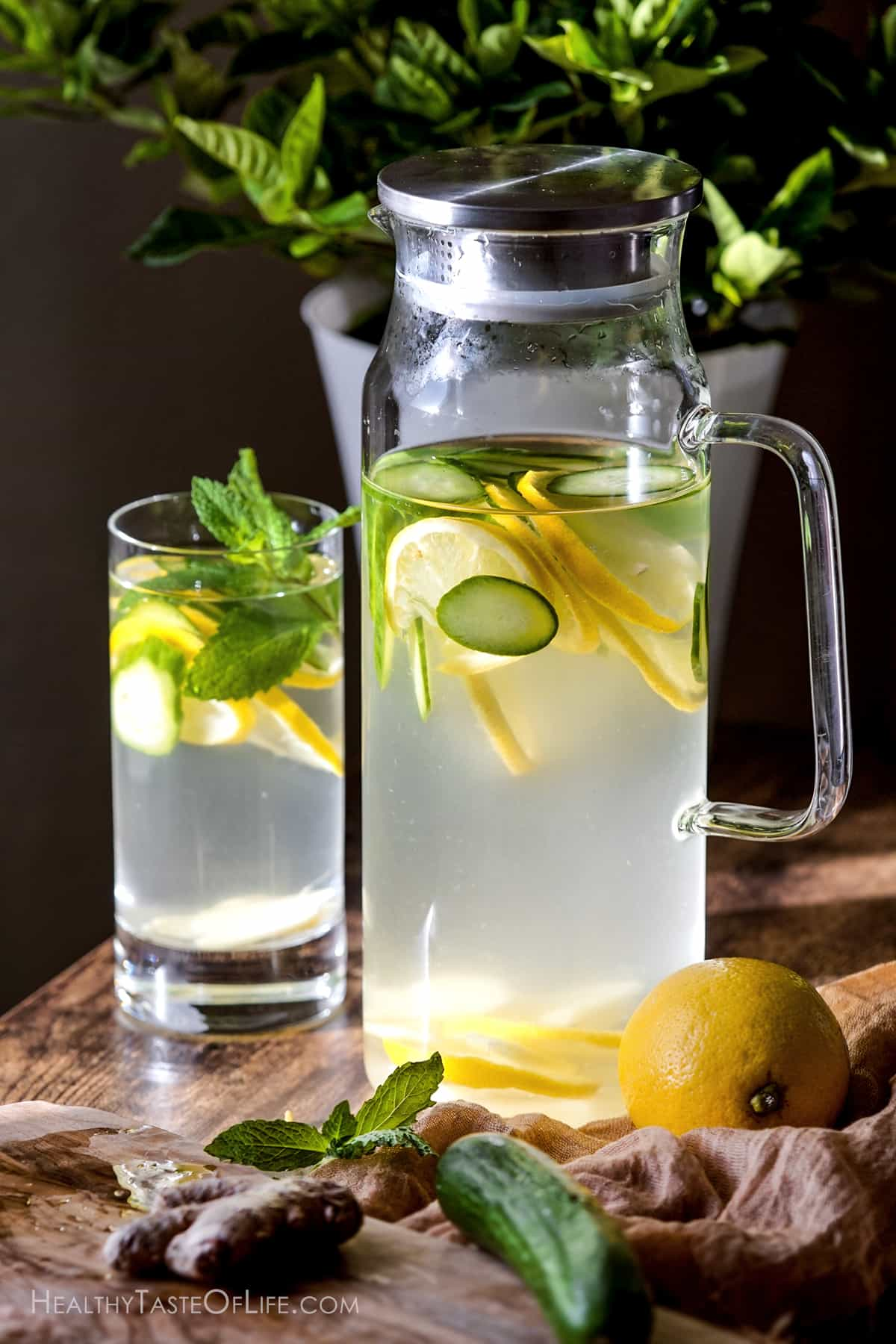 cucumber lemon ginger water for weight loss.