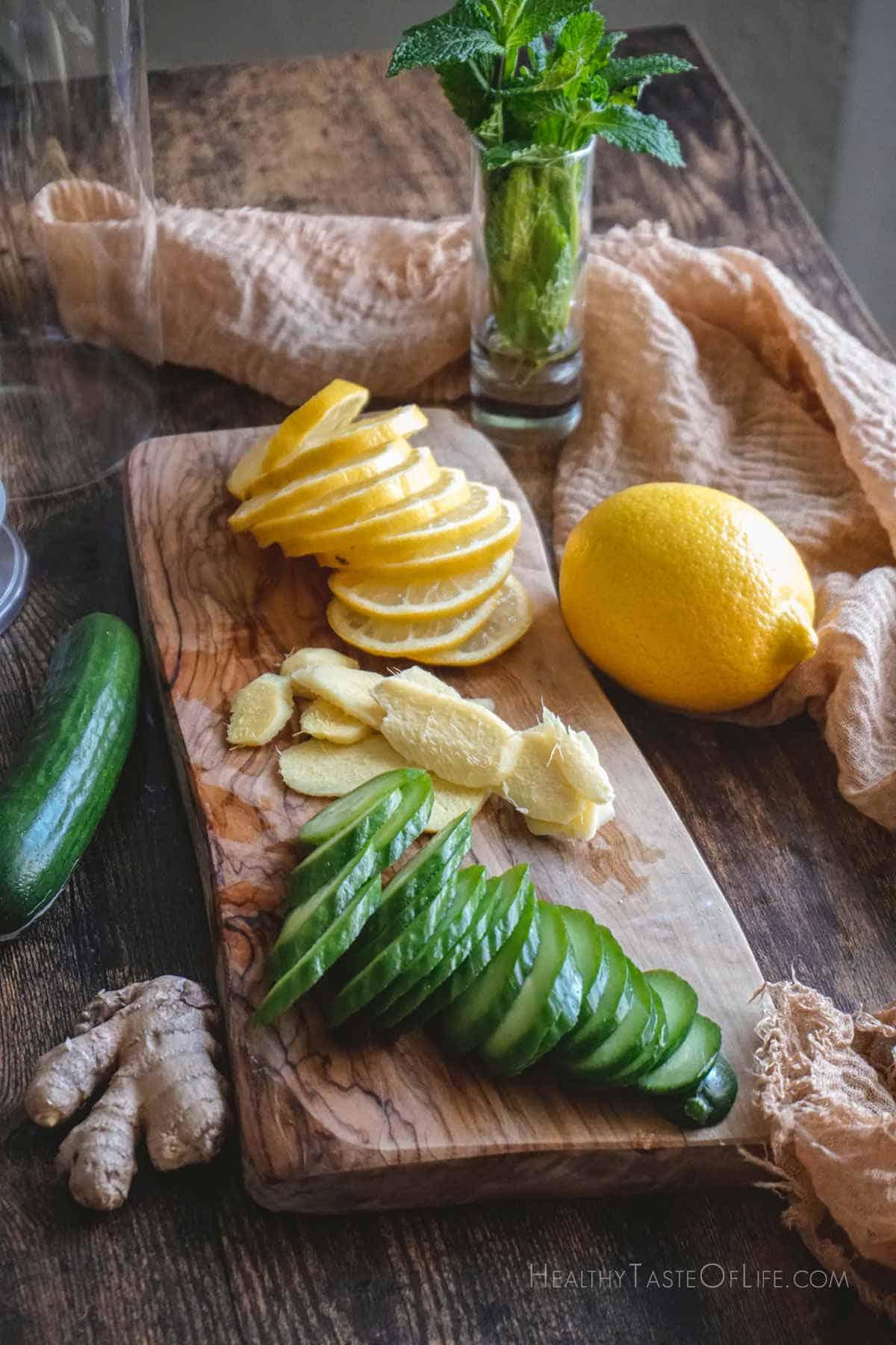 cucumber lemon ginger water ingredients.