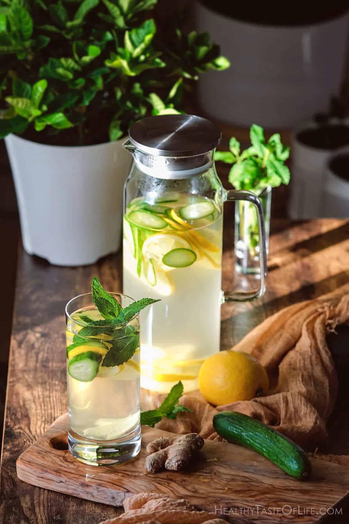 cucumber lemon mint ginger water.