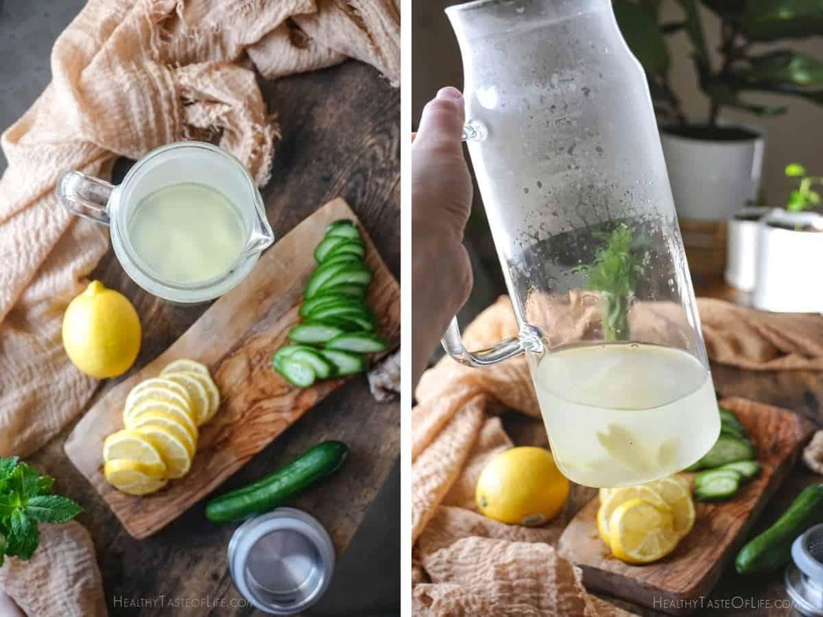 how to make cucumber lemon ginger water.