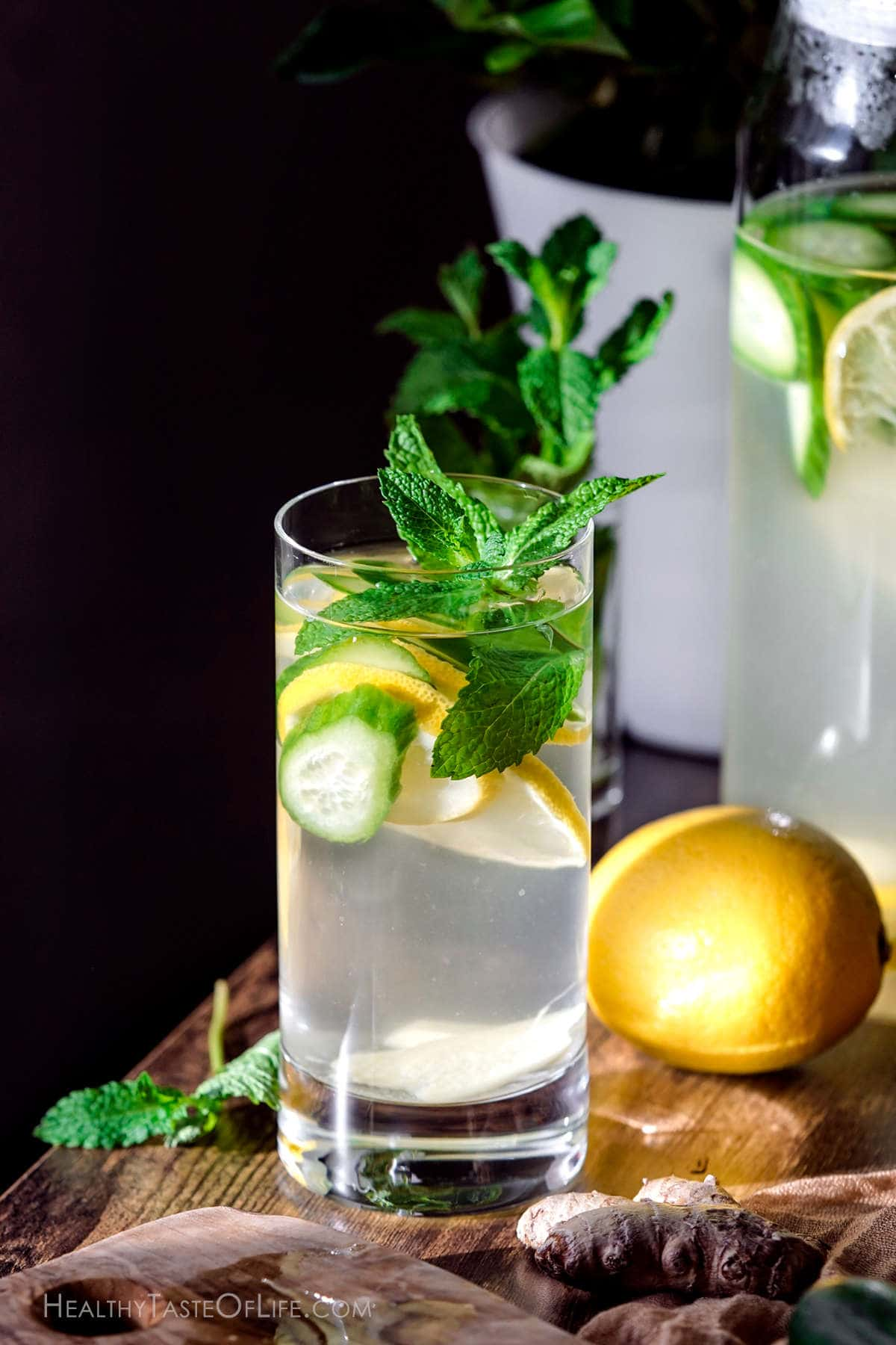 lemon ginger cucumber water in a glass.