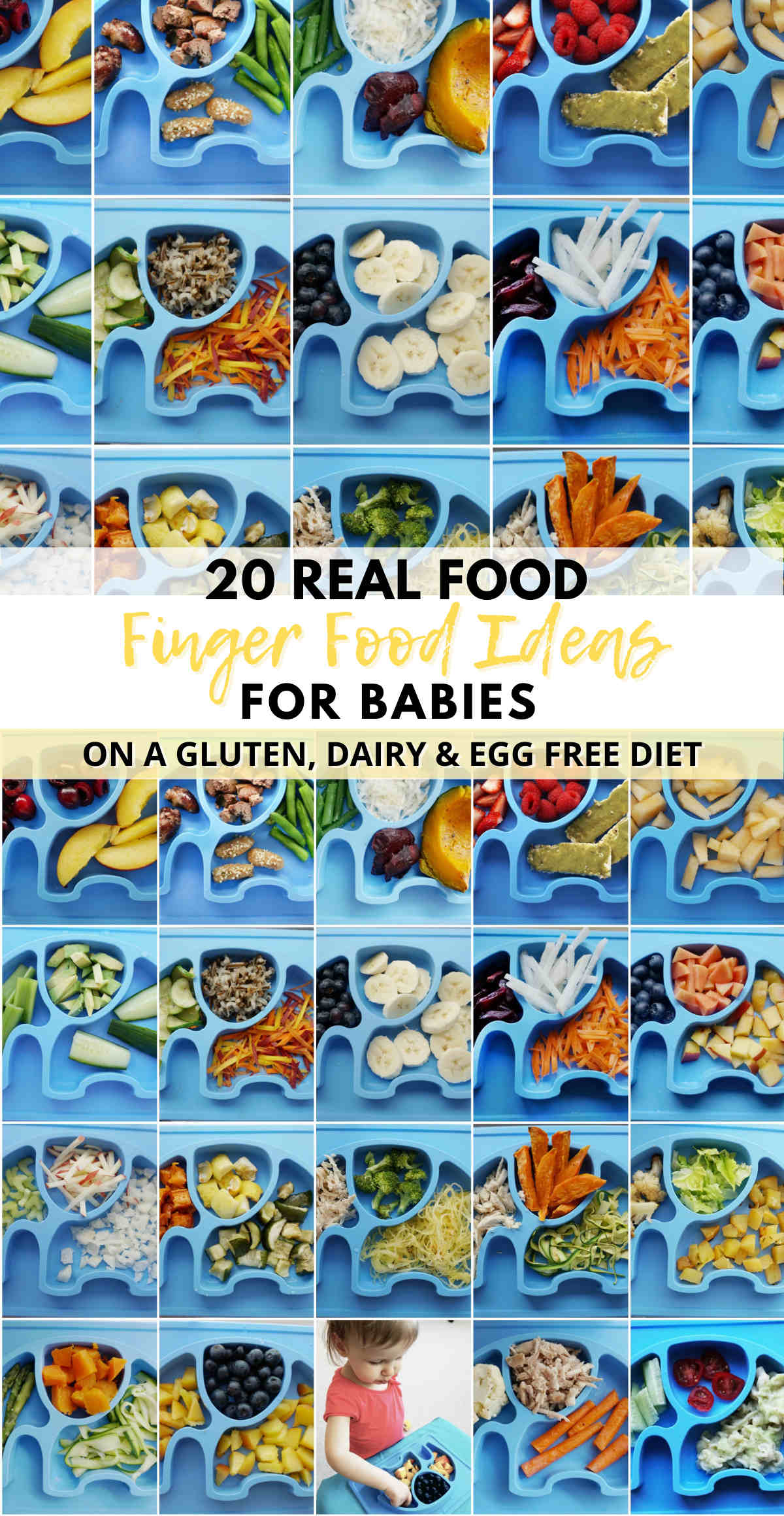 These 20 finger food ideas for babies are healthy allergy friendly (gluten free, dairy free, egg free). Easy and simple baby finger meal ideas that don't come from a box, suitable for 9+ month old babies including toddlers.